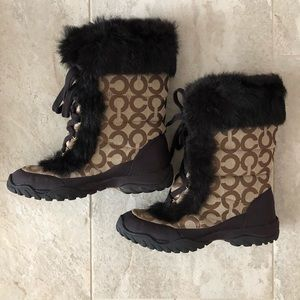 Coach Jennie Lace Up Rabbit Fur Snow Boots